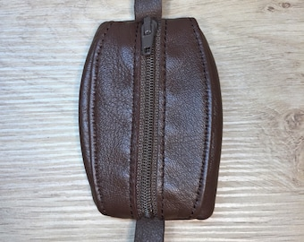 Mini brown leather wallet