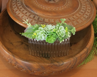 succulents wedding accessory, artificial succulents, succulents hair comb, succulent hair comb, flower hair comb, southern wedding