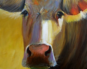 Cow Painting-  Leah - Paper print of an original painting by Cari Humphry