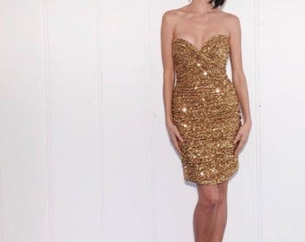 Trophy Wife Dress | 1980s Vicky Tiel Gold Sequin Strapless Ruched Mini Dress | Size M