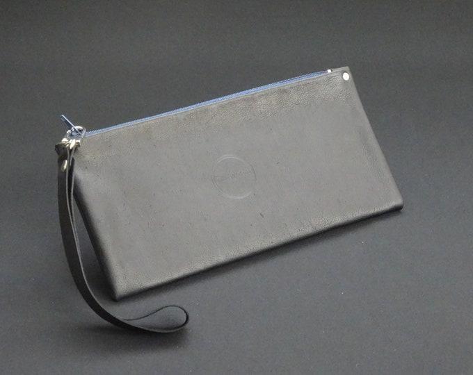 James Zip Purse - Genuine Kangaroo Leather Zip Purse Wallet Wrist Strap Handle - Soft Black/Blue