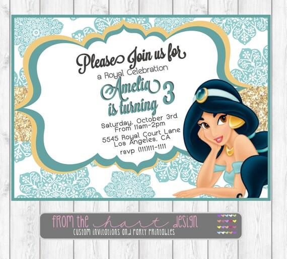 Disney Princess Jasmine Birthday Party Invitations Aladdin
