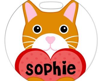 Luggage Tag - Orange Cat with Custom Name Heart - Round Plastic Bag ID Tag