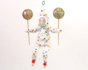Spun Cotton Vintage Style Clown Child Ornament (MADE TO ORDER)