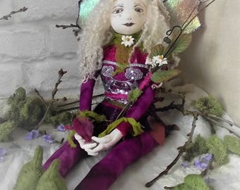 RESERVED, RESERVED, fairy doll, faerie art doll, fairy collectible, fairy soft sculpture, amethyst fairy, purple fairy, faerie