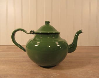 Vintage green enamel over metal teapot with hinged lid- marked Yugoslavia- good used condition