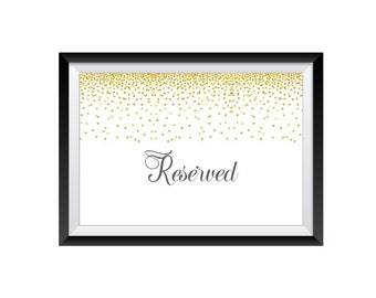 1qty Wedding Reserved Sign- Reserved Wedding Sign- Reserved Table Sign- Reserved Chair Sign- Reserved Seating- Reserved Signs for Wedding