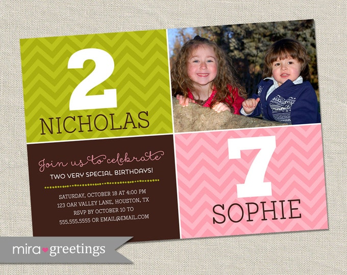 Double Birthday Party Invitation - dual birthday party - two kids - sibling birthday or joint party invite (printable digital file)