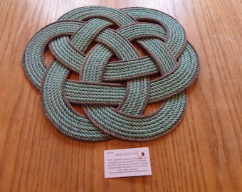 """Celtic Knotted Rope Centerpiece or Trivet 17"""" Made in Alaska Green Natural accented"""