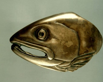 Salmon Fish Belt Buckle in Solid Bronze with Brown Patina Hand Made