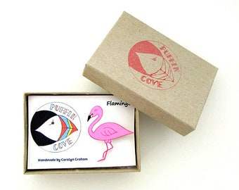 Flamingo Brooch, Flamingo Badge, Birds, Pin, Gift for Her, For Mum, Jewellery, Mother's Day