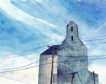 prairie watercolor landscape- Old Grain Elevator- art print