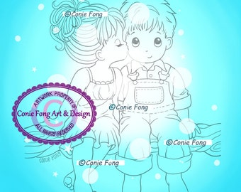 Digital Stamp, Digi Stamp, digistamp,  Kissed By An Angel  Conie Fong, valentines, love, coloring page, boy, girl, children, friendship