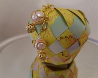 Pink and gold dangles