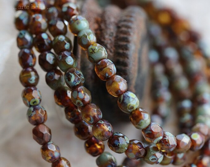 TORTOISE PICASSO BITS .. New 50 Premium Picasso Faceted Czech Glass Beads 3mm (6383-st)