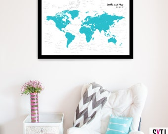 Wedding Guestbook alternative Map Poster, Wedding Guest book Map Poster, Guestbook Ideas, Guestbook Sign, Guestbook World Map, Travel Theme