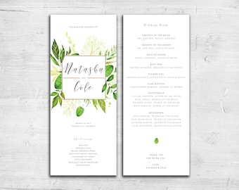 Greenery Design Wedding Program - Tea Length Wedding Program - Floral Wedding Program - Garden Wedding Program - Outdoor Wedding Program