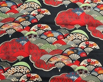 Japanese fan fabric. Oriental Fabric. Linen cotton fabric by the yard