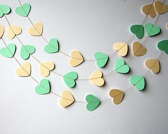 Wedding decor, Mint green & Ivory Heart garland, Mint green ivory garland, Mint wedding, Bridal shower decoration, Heart garland, KCO-3049