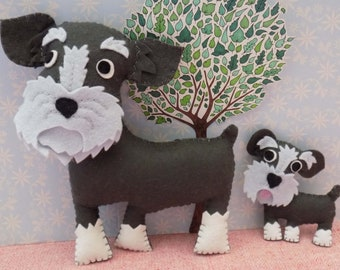 Schnauzer Decoration Sewing Pattern, Instant download PDF for keyring, bag charm