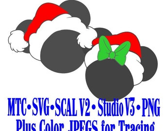 Magical Christmas Santa Mouse Heads Girl Boy Silhouette SCAL MTC SVG Cut File