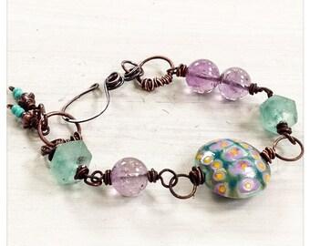Green and purple beaded bracelet - lampwork bead bracelet - ametrine - recycled glass - copper bracelet - artisan bracelet