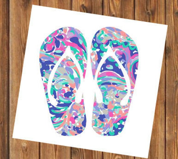 Free Shipping- La Playa Flip Flops Monogram Decal, Personalized,Yeti Rambler, RTIC Corkcicle, Laptop,Sticker, Sea Turtle, Ocean Beach Bay