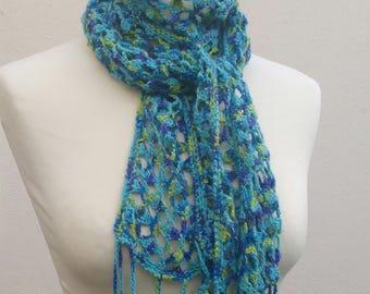Crochet Pattern - Lace Scarf, freeform emblishment