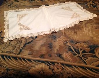 White ecru doily vintage late 20 century.