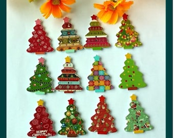 Set of 10 wooden Christmas tree buttons