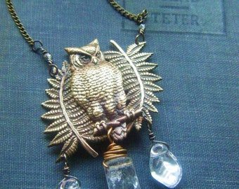 Owl with Quartz Crystal Point and Ferns Necklace