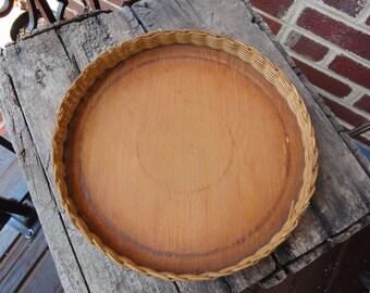 Round Wicker Handmade Plant Holder/Vintage 60's Plant Holder/Vintage Baskets and Bowls/Home Decor Baskets/Fern Holders