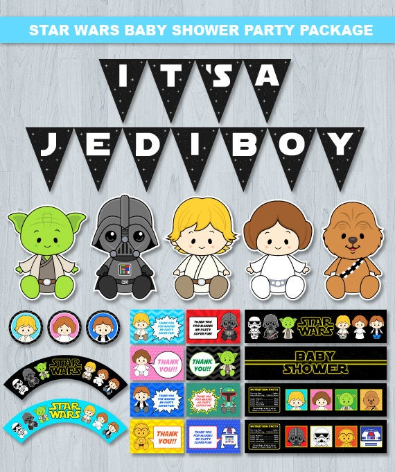 Star Wars Baby Shower, Star Wars Baby Shower Decoration, Star Wars Baby  Shower Party Package, Star Wars Baby Shower Printables