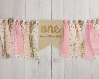 Pink and Gold Birthday Highchair Banner (Made to Match), Photo Prop Banner, Nursery Decor, Fabric Banner, Birthday Banner