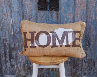 Kentucky Home - burlap pillow - outdoor pillow - state