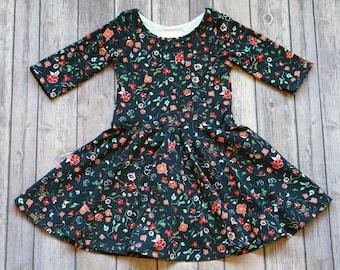 Navy Floral Dress. Fall Floral Dress. Baby Dress. Comfy Dress. Toddler Dress. Little Girl Dress. Twirl Dress. Twirly Dress. Floral Dress.