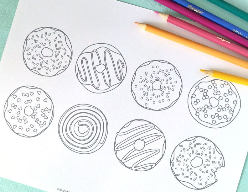 Printable DOUGHNUTS Coloring Page Digital File Instant