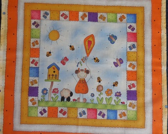 Cloth fabric Napkin for kids with a Girl holding a Kite – Easter Kids Napkin – 17x17