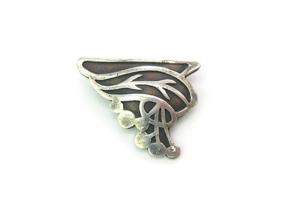 Antique Heintz Art Metal Shop Brooch. Bronze, Sterling Silver. American Arts and Crafts
