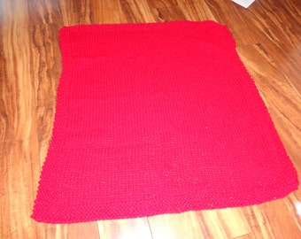 Shimmery hand-made knit baby blanket - red
