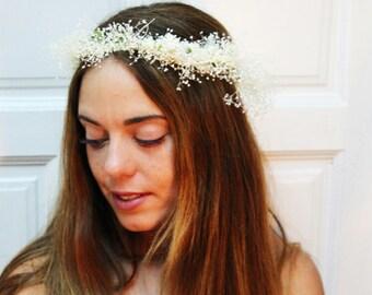 White,Ivory,dry,flower,crown,tiara,headdress,boho,chic,romantic,wedding,bridal,accesorie,romantic,ivory