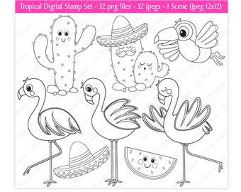 Flamingo Digital Stamps,Cactus Digital Stamps,Toucan Stamps,Digital Stamps,Flamingo Clipart,Tropical Clipart,Commercial Use (S20)