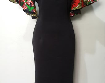 Black scuba dress with a mix of African print