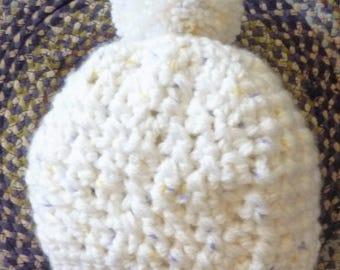 White Girls Crochet Beanie with Purple and white Flecks Pom Pom Fits 1 yr and up