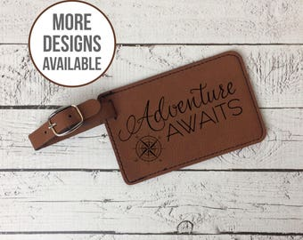 Adenture Awaits Luggage Tag, Laser Engraved Luggage Tag, Travel Accessory, Luggage Identification, Wedding Gift,