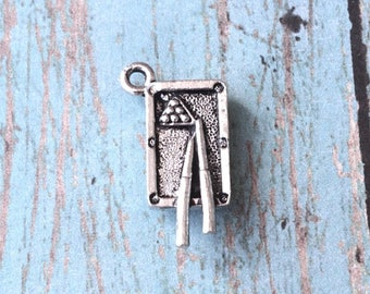 Pool table charm 3D pewter (1 piece) - silver pool table pendant, billiards charm, pool charm, gift for pool player, WW14