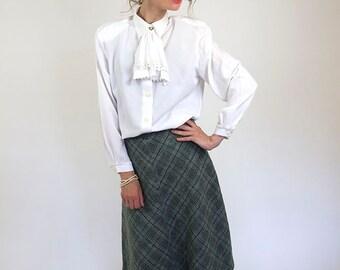 Wool skirt, midi soviet skirt, women winter skirt, tweed, size S/M, 36, 70s