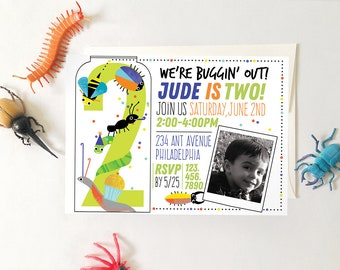 Insect Birthday Party Invitation, Printable DIY Invitation, Bug Birthday Party