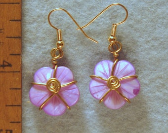 Carved Mother Of Pearl Wire Wrapped Flower Earrings