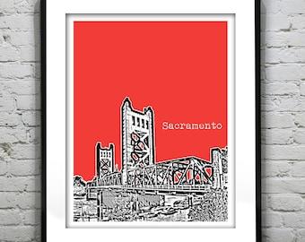 Sacramento California Poster Art Skyline Print Version 2